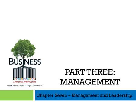 Chapter Seven – Management and Leadership PART THREE: MANAGEMENT.