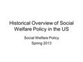 Historical Overview of Social Welfare Policy in the US Social Welfare Policy Spring 2013.