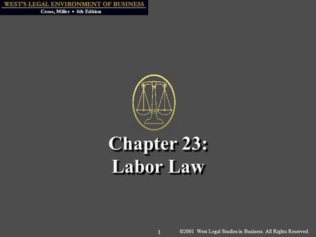 ©2001 West Legal Studies in Business. All Rights Reserved. 1 Chapter 23: Labor Law.