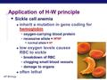 AP Biology Application of H-W principle  Sickle cell anemia  inherit a mutation in gene coding for hemoglobin  oxygen-carrying blood protein  recessive.