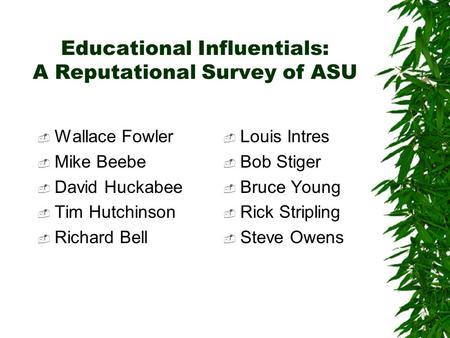 Educational Influentials: A Reputational Survey of ASU  Wallace Fowler  Mike Beebe  David Huckabee  Tim Hutchinson  Richard Bell  Louis Intres 