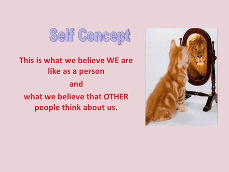 This is what we believe WE are like as a person and what we believe that OTHER people think about us.