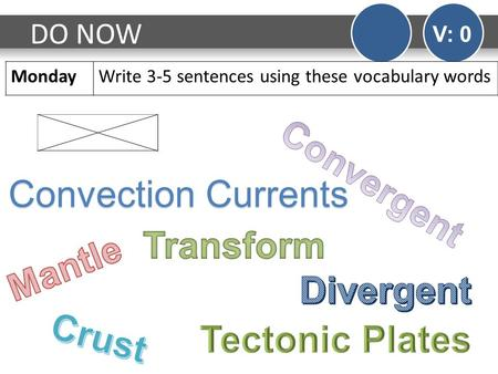 DO NOW V: 0 MondayWrite 3-5 sentences using these vocabulary words Convection Currents.