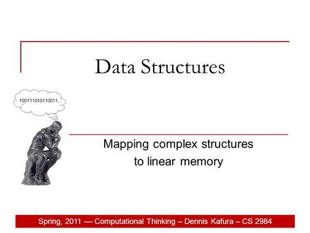 Spring, 2011 –– Computational Thinking – Dennis Kafura – CS 2984 Data Structures Mapping complex structures to linear memory.