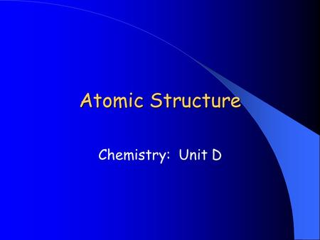 Atomic Structure Chemistry: Unit D. What is an atom? Atom: the smallest unit of matter that retains (keeps) the identity of the substance First proposed.
