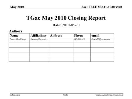 Doc.: IEEE 802.11-10/0xxxr0 Submission May 2010 Osama Aboul-Magd (Samsung)Slide 1 TGac May 2010 Closing Report Date: 2010-05-20 Authors: