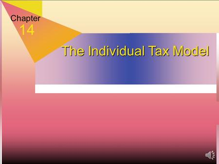 Chapter 14 The Individual Tax Model How to Use the Tax Rate Schedule  Schedule divided into brackets—10%, 15%, 25%, 28%, 33%, 35% and 39.6%  Income.