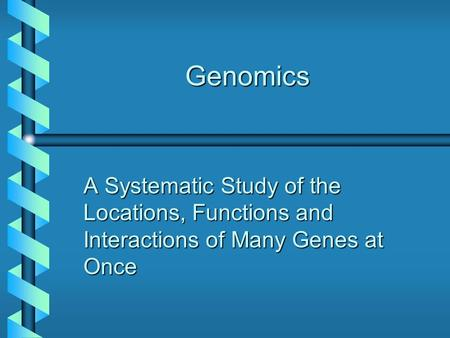 Genomics A Systematic Study of the Locations, Functions and Interactions of Many Genes at Once.