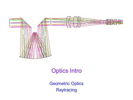 Optics Intro Geometric Optics Raytracing. Spring 2011 UW ASTR 597 2 <strong>Reflection</strong> We describe the path of light as straight-line raysWe describe the path.