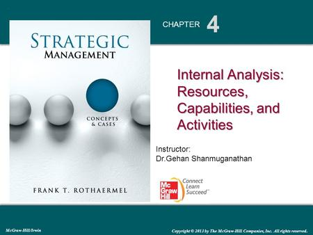 4 CHAPTER Internal Analysis: Resources, Capabilities, and Activities McGraw-Hill/Irwin Copyright © 2013 by The McGraw-Hill Companies, Inc. All rights reserved.