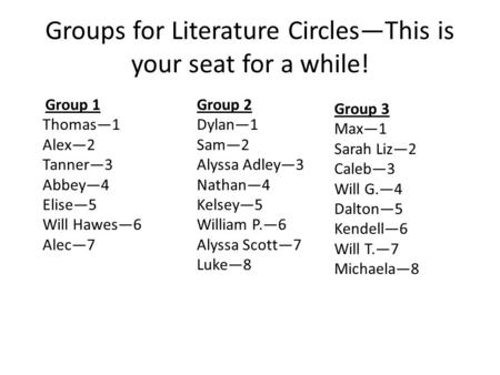 Groups for Literature Circles—This is your seat for a while! Group 1 Thomas—1 Alex—2 Tanner—3 Abbey—4 Elise—5 Will Hawes—6 Alec—7 Group 2 Dylan—1 Sam—2.