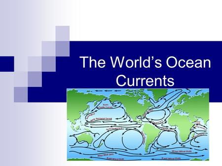 The World's Ocean Currents. Ocean Currents 160 Million Years Ago 100 Million Years Ago 30 Million Years Ago.