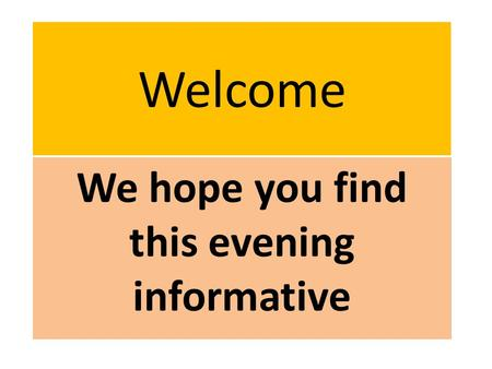 Welcome We hope you find this evening informative.