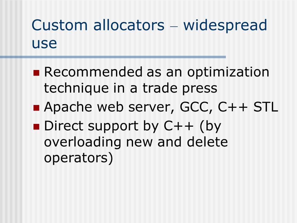 Why programmers use Custom Allocators.