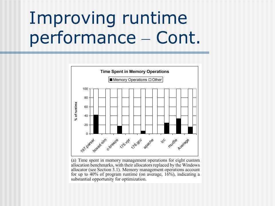 Reducing memory consumption
