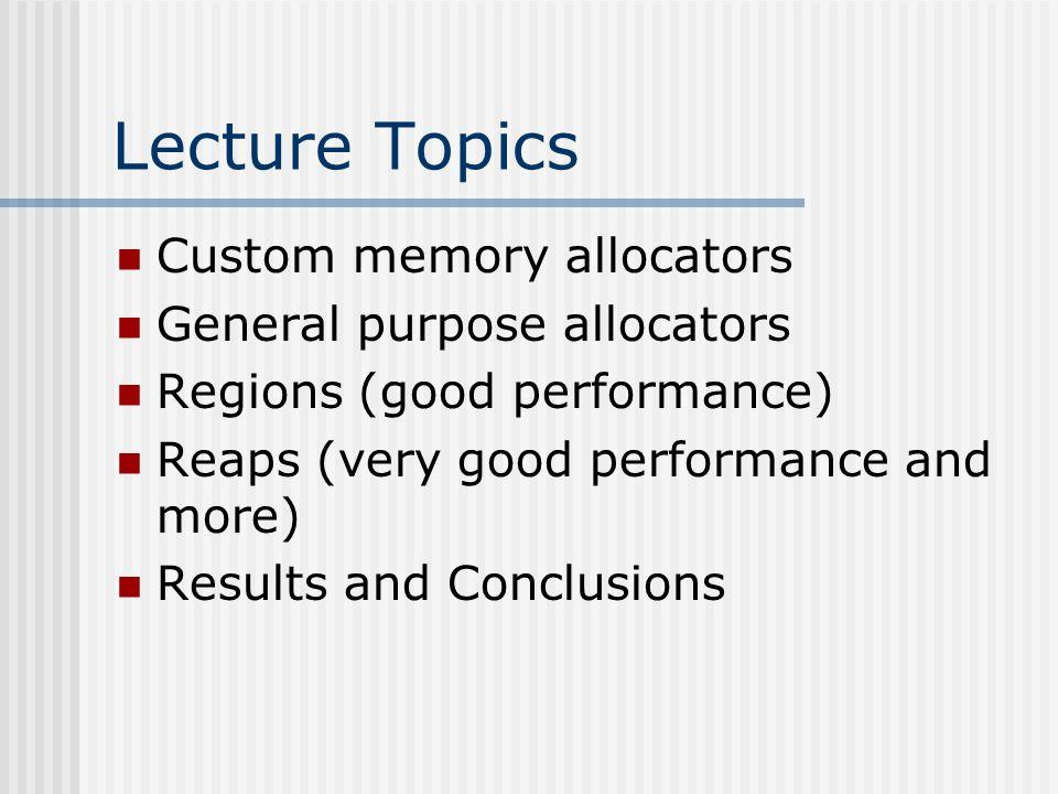 Key Contributions of the paper A comprehensive evaluation of custom allocators Custom allocations vs.