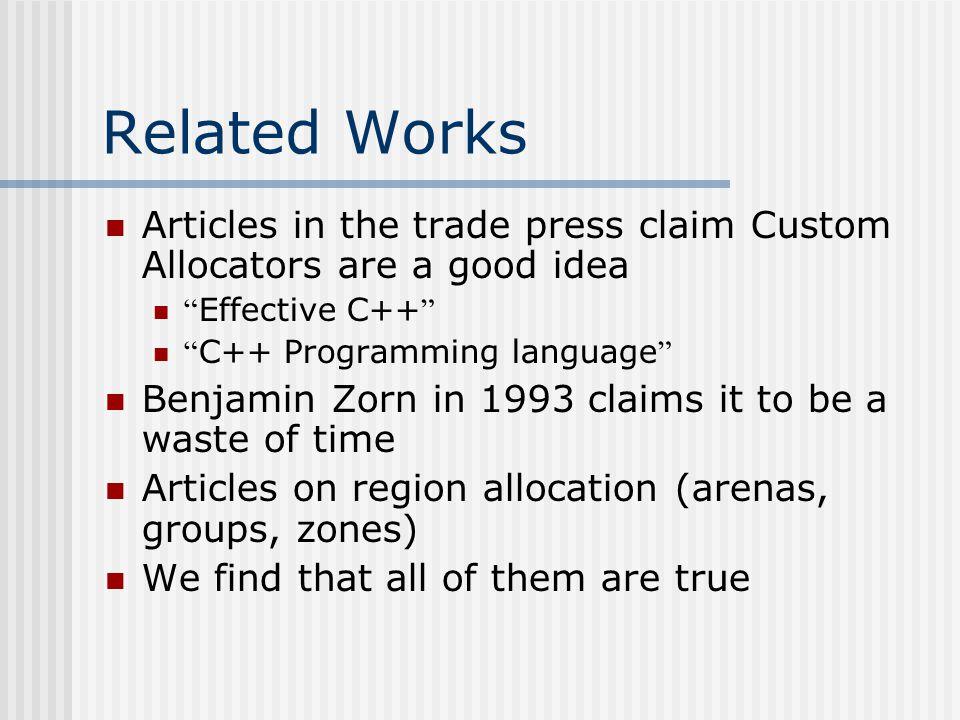 General-purpose memory allocators Windows XP allocator Lea allocator (Linux)