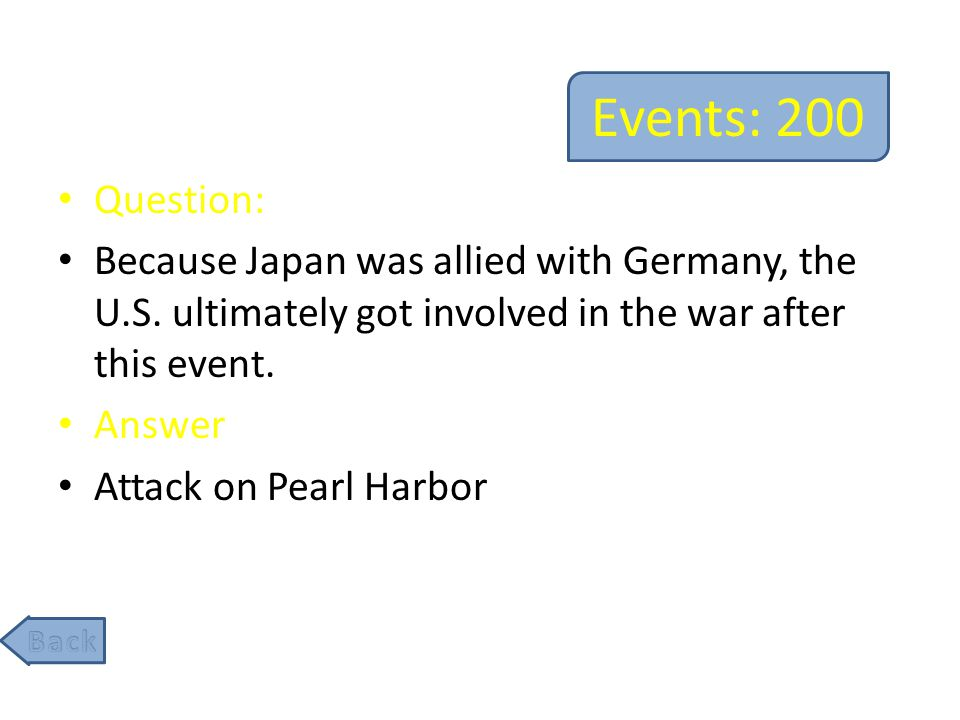 Events: 400 Question: The U.S.'s involvement in this event ultimately lead to the allies' liberation of Europe from Axis control.