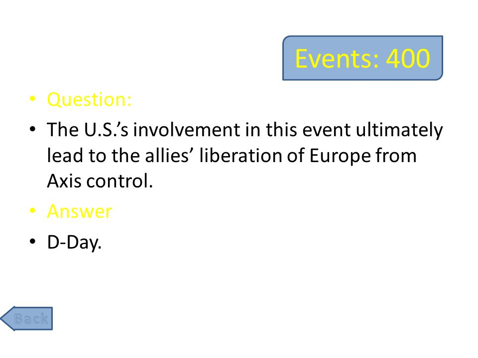 Events: 600 Question: After Germany surrendered, WW2 had not ended due to Japan's military refusing to surrender.