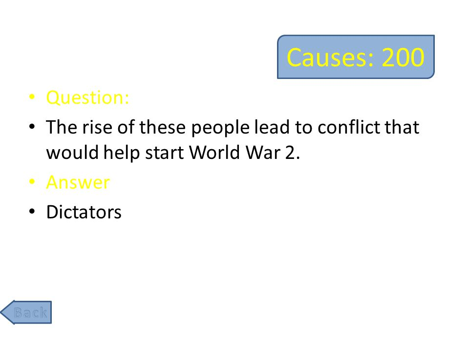 Causes: 400 Question: By this policy, world leaders decided to give land to Hitler in hopes that it would prevent the outbreak of another war.