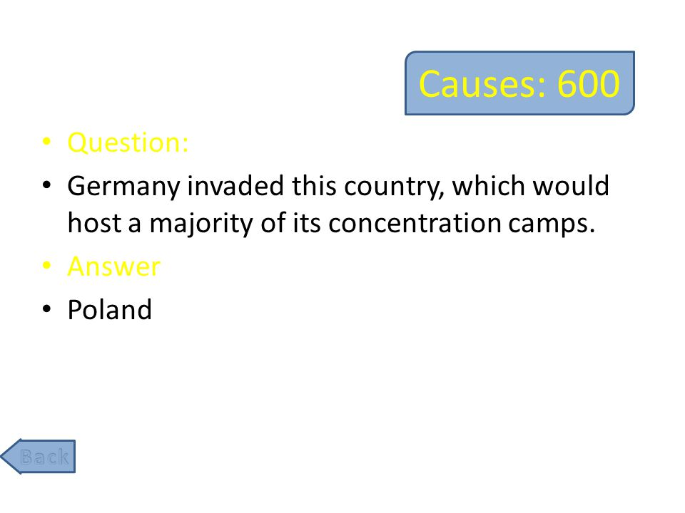 Causes: 800 Question: The German's anger over this resulted in Hitler's rise to power in the 1930s.