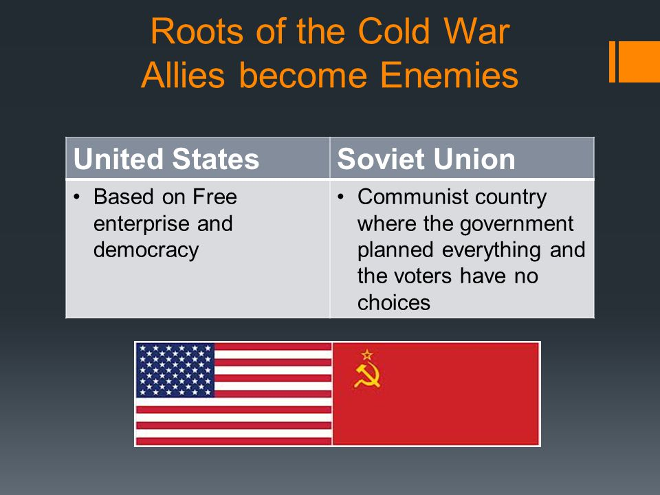  United States and Soviet Union were the 2 most powerful nations in the world after WW2  Both wanted to spread their own systems.