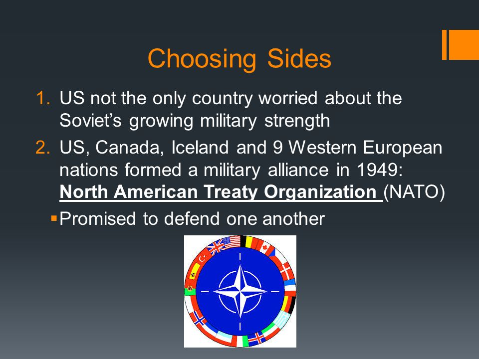 3.Soviet Union joined with Eastern European nations and formed their own alliance: Warsaw Pact 4.