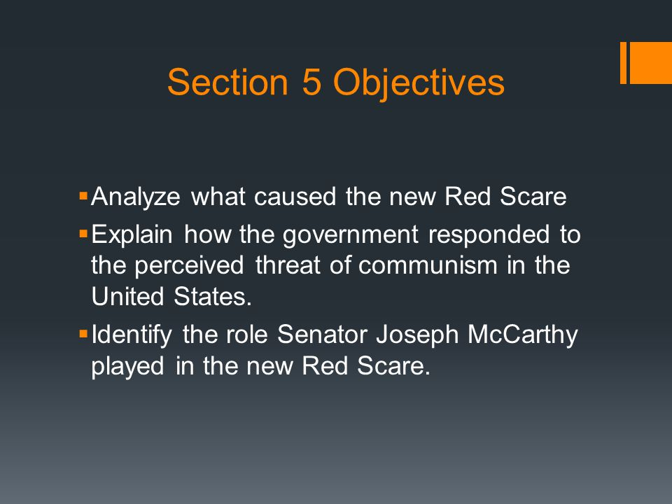 Cold War Fears A New Red Scare 1.1 st Red Scare: just after WWII (1918) 2.New Red Scare: started in the 1930s-1980's 1.1 st cause: US Communist Party 2.2 nd cause: Soviets gaining control after WW2 3.3 rd cause: Communist came to power in China & North Korea 3.Hollywood made 40 anticommunist movies between 1948-1954 1.Invasion of the Body Snatchers