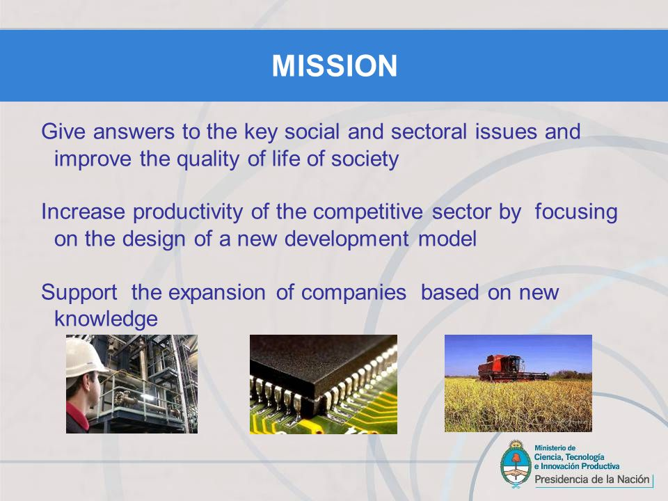 Energy Agroindustry Health Environment and Social Development Biotechnology ICTs Nanotechnology STRATEGIC AREAS SECTORAL FUNDS
