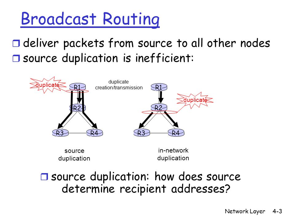 Network Layer4-4 In-network duplication r flooding: when node receives brdcst pckt, sends copy to all neighbors m Problems: cycles & broadcast storm r controlled flooding: node only brdcsts pkt if it hasn't brdcst same packet before m Node keeps track of pckt ids already brdcsted m Or reverse path forwarding (RPF): only forward pckt if it arrived on shortest path between node and source r spanning tree m No redundant packets received by any node