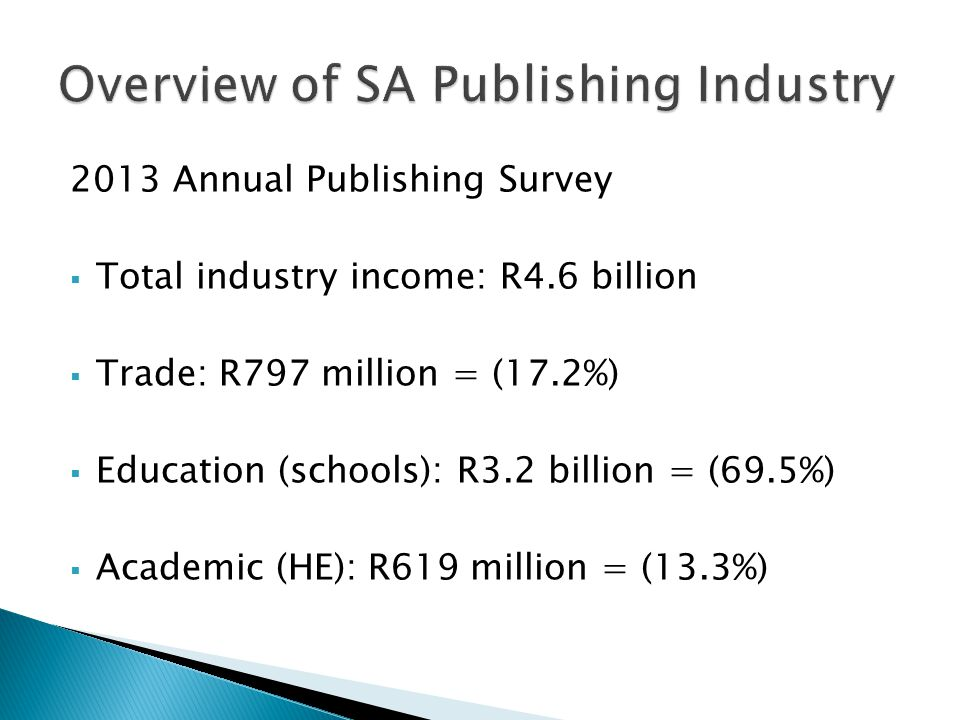 Of the R4.6 billion income:  Local product: R4.5 billion  Book export sales: R58 million  Local publishing rights: R4 million  Foreign publishing rights: R2.5 million  E-books sales: R36 million (previous year was R5 million)