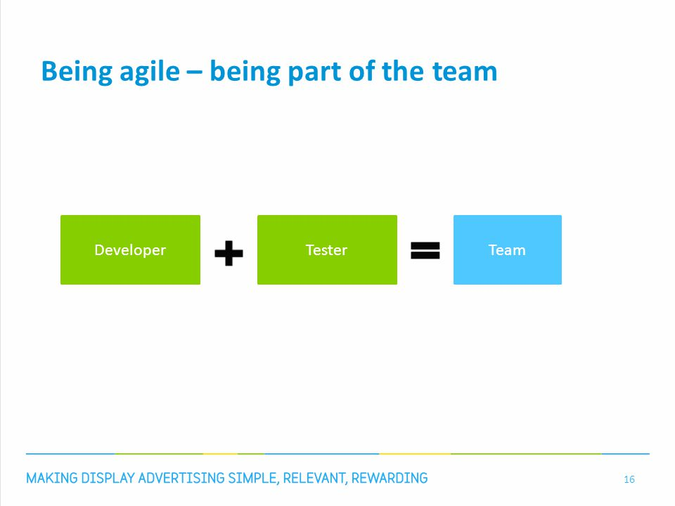 Agile tester 17 R1Plan / take metrics in the beginning of sprint R2Learn from / help with unit tests R3Execute manual testing and regression R4Make regression test cases R5Drive testing process R6Constantly gather information R7Maintain test cases R8Execute pair testing / pair programming