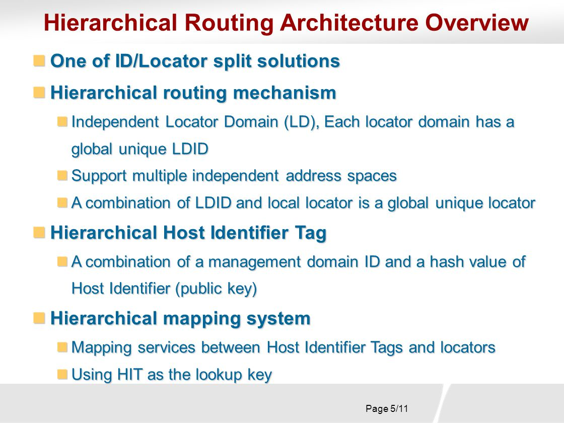 Page 6/11 LD 5 LD 3 LD 1 LD 4 LD 2 R1 R3 R2 R5 R4 R7 R6 Hierarchical Routing Mechanism 2-level hierarchical routing 2-level hierarchical routing Inter-LD routing and intra-LD routing Inter-LD routing and intra-LD routing Locator Domain Border Routers (LDBRs) exchange LD reachability information Locator Domain Border Routers (LDBRs) exchange LD reachability information LDBRs only store LD-ID based routing information LDBRs only store LD-ID based routing information Internal routers support prefix-based routing Internal routers support prefix-based routing Internal routers only store internal routing information Internal routers only store internal routing information