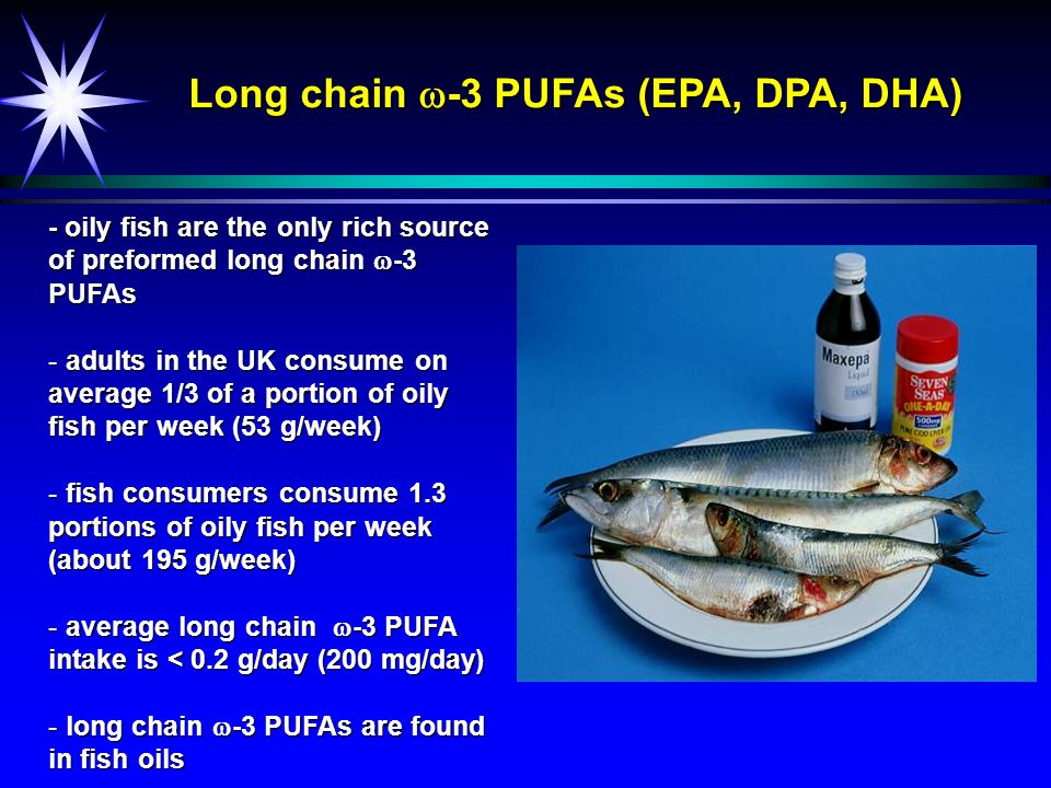 Long chain  -3 PUFA content of fish EPADPADHA Total (g/100 g food)g/portion Cod0.080.010.16 0.30 Haddock0.050.010.10 0.19 Herring0.510.110.69 1.56 Mackerel0.710.121.10 3.09 Salmon0.550.140.86 1.55 Crab0.470.080.45 0.85 Prawns0.060.010.04 0.06