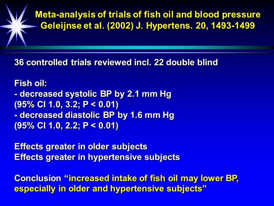 Relationship between dietary long chain  -3 PUFAs and blood TAG concentrations ä Review of 72 placebo-controlled human trials ä All > 2 weeks duration ä Harris (1996) Lipids 31, 243-252 TAG < 2 mM TAG > 2 mM TAG > 2 mM -30 -20 -10 010 % Change Placebo Fish oil Difference