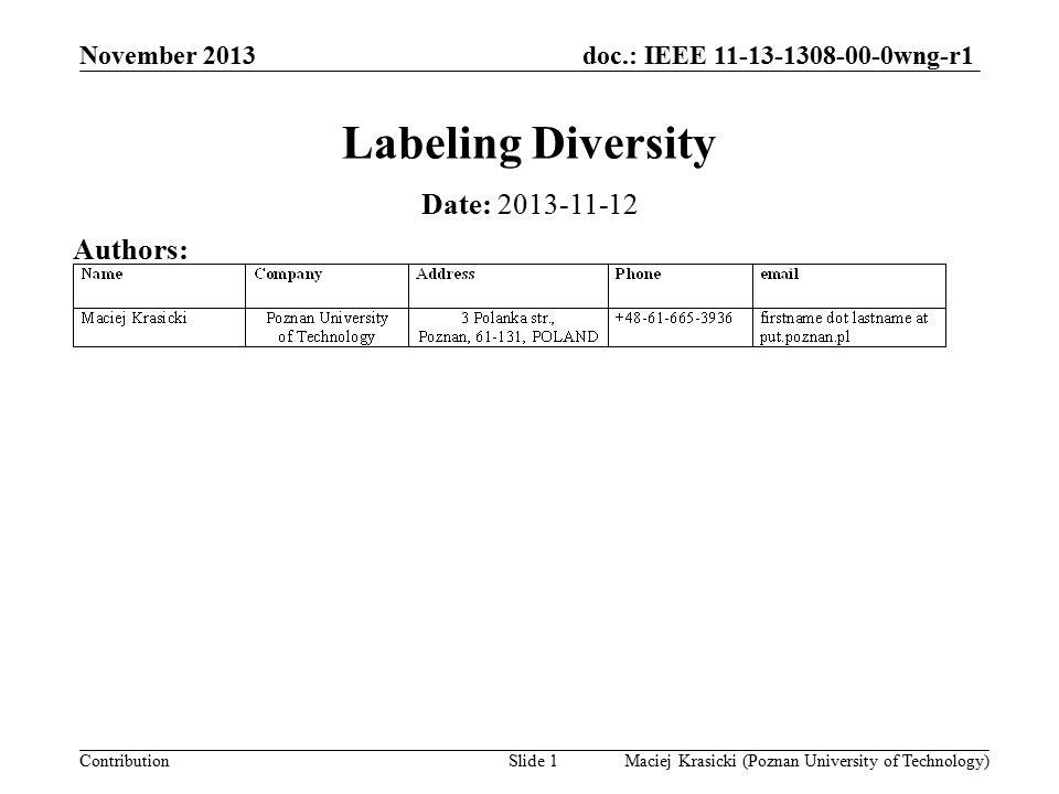 doc.: IEEE 11-13-1308-00-0wng-r1 Contribution Outline Diversity BI-STCM-ID Labeling diversity Analytical & simulation results Discussion November 2013 Maciej Krasicki (Poznan University of Technology)Slide 2