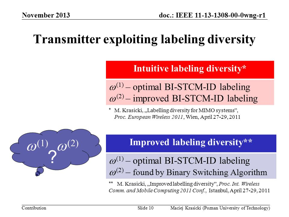 doc.: IEEE 11-13-1308-00-0wng-r1 Contribution Improved 16-QAM labeling pair November 2013 Maciej Krasicki (Poznan University of Technology)Slide 11