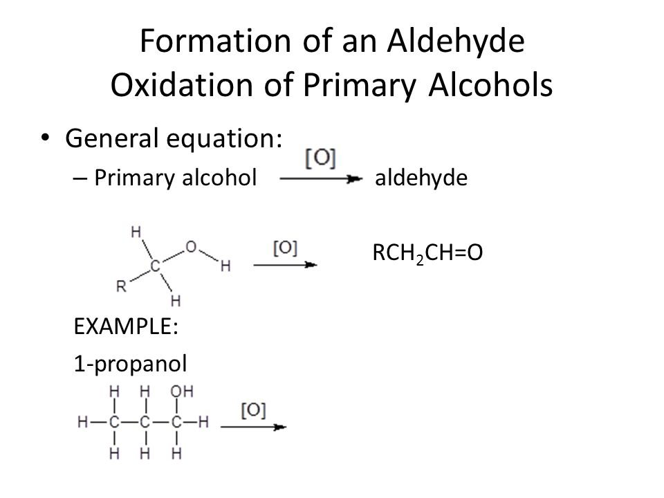 Formation of a Ketone Oxidation of Secondary Alcohols General equation: – Secondary alcohol ketone O R-C-R EXAMPLE: 2-propanol