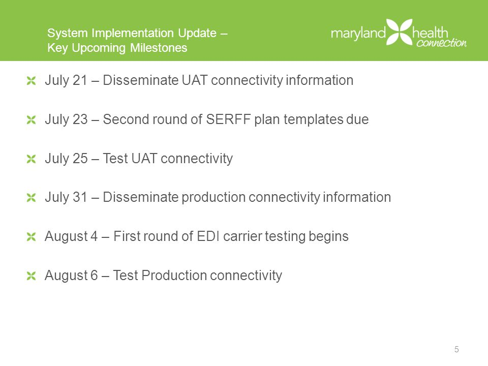 R1 SIT Update R1 System Integration Testing (SIT) – Status Overview –Testing is on track –First iteration of templates were uploaded on July 8 –Template feedback has been disseminated –Second iteration of templates are due July 23 R1 SIT – Key Feedback to Carriers –Update effective dates in Rate Templates from 2014 to 2015 –Missing Plan Expiration Date in the Plan & Benefits Template.