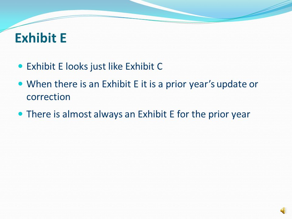Exhibit E Exhibit E looks just like Exhibit C When there is an Exhibit E it is a prior year's update or correction There is almost always an Exhibit E for the prior year