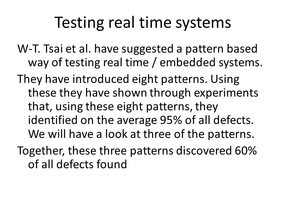 Patterns and coverage (from Tsai)