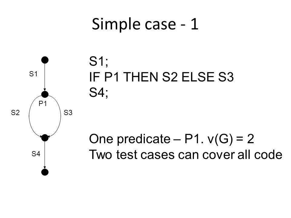 Simple case – 2 S1; IF P1 THEN X := a/c ELSE S3; S4; One predicate – P1.