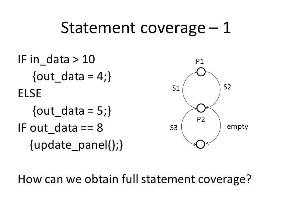 Statement coverage – 2 out_data = 0 IF in_data > 10 {out_data = 4;} update_panel(); If we set in_data to 12 we will have full statement coverage.