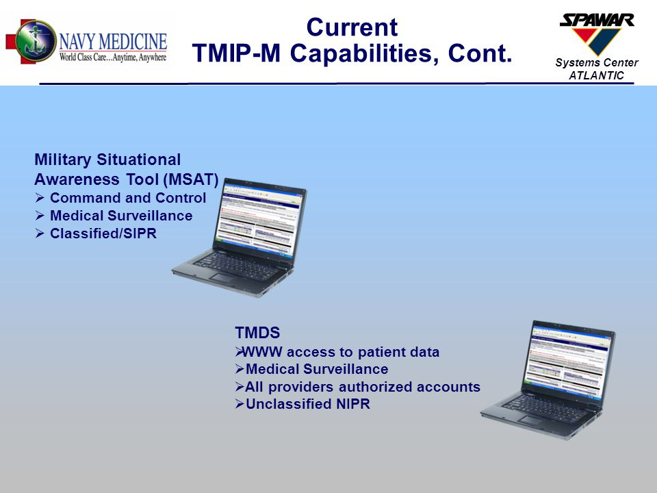 34 Systems Center ATLANTIC TMIP-M Product Deployment Process Separate approval processes for Theater and Afloat Units Separate approval processes for each ship class, or submarine; and for each individual ship TMIP Release received from D&RS AHLTA-T/SAMS9/MMM AHLTA-T/TC2/DCAM/PMITS