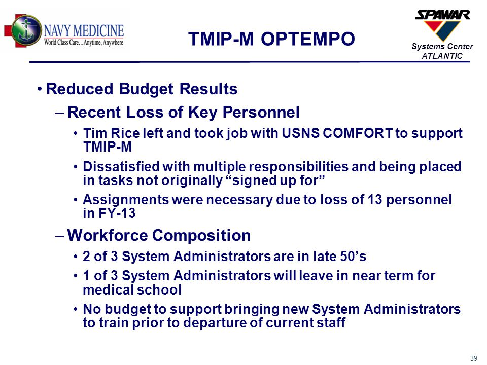 40 Systems Center ATLANTIC Reduced Budget Results –Multiple Tasking Installation team supports help desk and test team when not on road External Release supports SAMS 8 requirements in addition to multiple versions of TMIP-M.