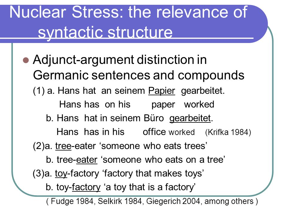 Non-Phrase final NS in Germanic Unmarked stress patterns with non- sentence final NS (esp.