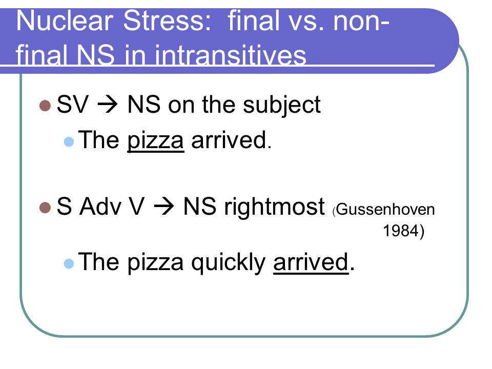 Nuclear Stress: the relevance of semantico-pragmatic factors Germanic Variability (esp.