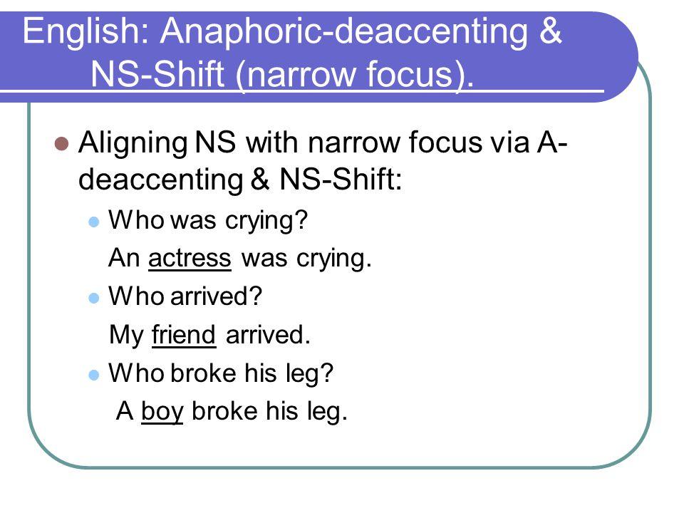 Anaphoric-deaccenting & NS-Shift (narrow focus).