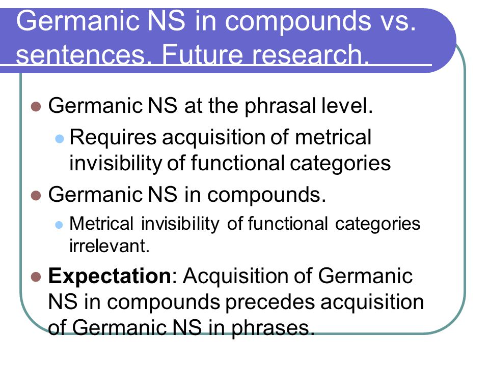 Germanic NS in compounds vs.sentences. Future research.