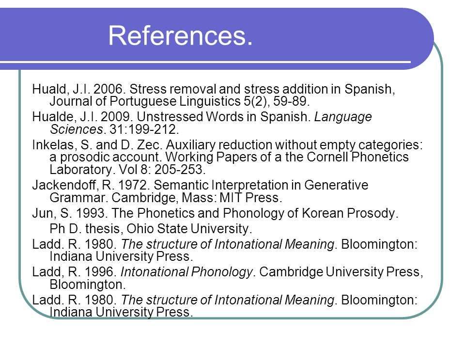 References.Ladd, R. 1996. Intonational Phonology.